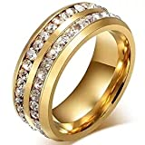 LEEYA NL10 Mens Womens 8MM Titanium Stainless Steel High Polished 18K Gold Plated Channel Set Cubic Zirconia CZ Promise Engagement Band Unisex Gold Wedding Ring Comfort Fit, Size 6-13 (8, Gold)