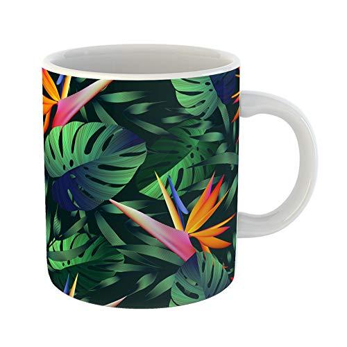 Emvency Funny Coffee Mug Tropical Flowers Jungle Leaves Bird of Paradise Beautiful Floral Pattern Exotic 11 Oz Ceramic Coffee Mug Tea Cup Best Gift Or ()