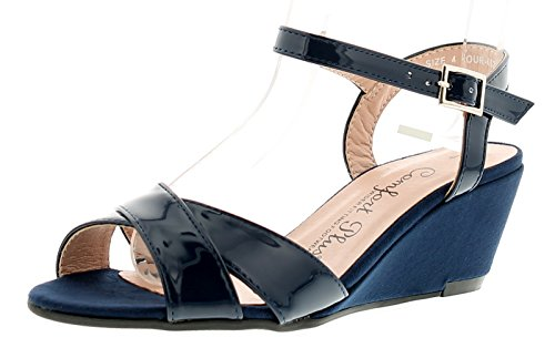 Comfort Plus Gloria Womens Ladies Wedge Sandals Navy - Navy - UK Sizes 3-8 AOe3UQdbL