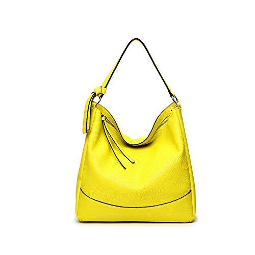 SDINAZ Nuevo Mujer bolso de mano PU piel moda bolso bandolera trabajo bolso grande Amarillo