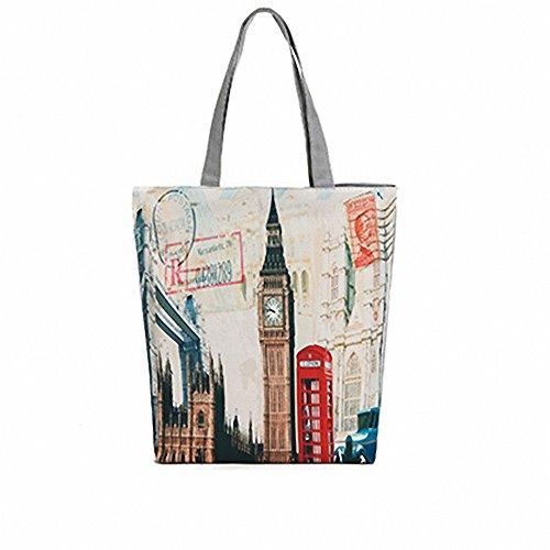 Shopping Cotton Tote British Flag Large Women's Canvas London3 Handbags London Handle Shoulder Bags Bags Top Bag Oqwgc