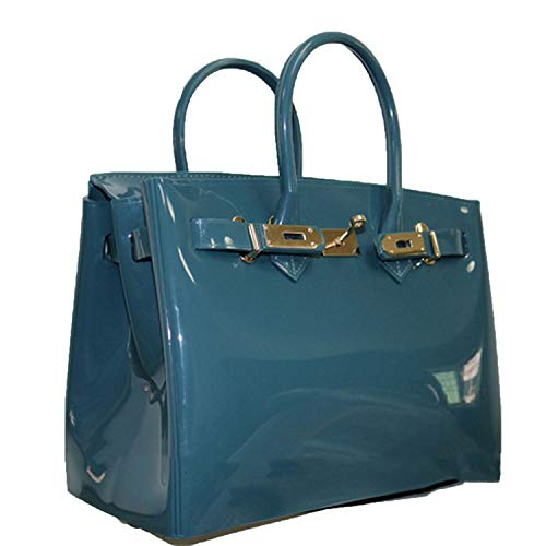turquoise bag female handbag plastic PVC waterproof rubber bags jelly beach bags,indigo blue,29cm (Palm Beach Indigo)