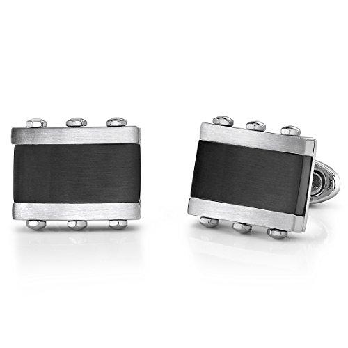 Stainless Steel Rectangular Cufflinks for Men with Black Onyx Inlay - Cufflinks Steel Rectangular