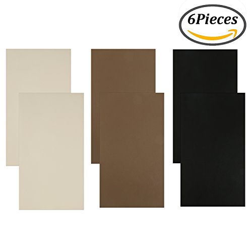 Coobey 6 Pieces Leather Patch Sofa Repair Patch Self-adhesive Leather Repair Patch for Sofa or Car Seat, 10 Inch by 6 Inch, 3 colors (Three color)