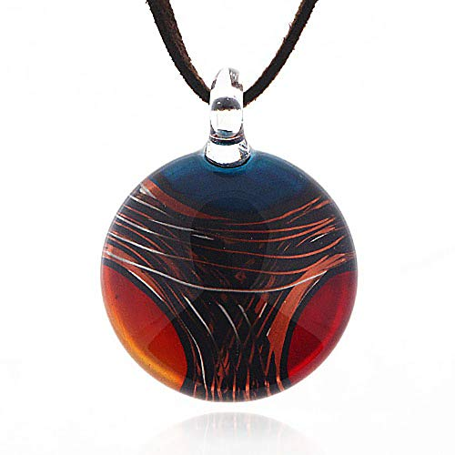 Chuvora Hand Blown Venetian Murano Glass Multi-Colored Red Blue Yellow Round Pendant Necklace, 18-20 inches
