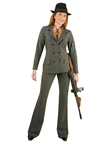 Charades Women's Gangster Suit Costume, Black/White, X-Large]()