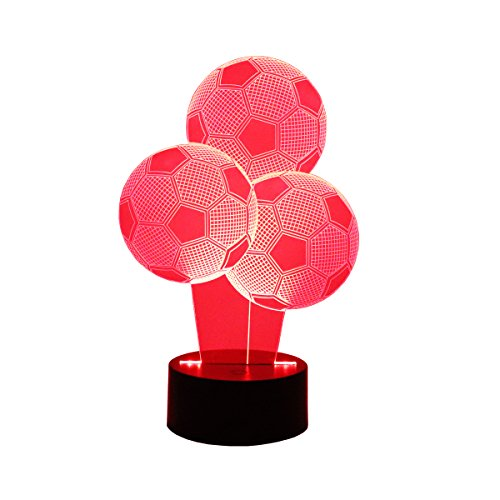 Hguangs 3D Lamp Soccer Shape Balloon Night Lamp 3D Optical Illusion Night Light Table Light 7 Colors Changing Touch Control Gift For Christmas Birthday Valentines Day Kids Children Girl And Boy