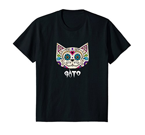 Kids Mexican Sugar Skull Cat Tee Shirt 8 Black (Sugar T-shirt Boys)