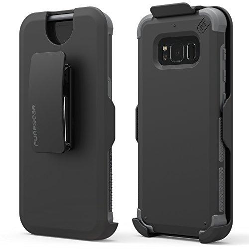 Black Hip Holster (PureGear Dualtek HIP Case for Samsung S8+ - Black Case with Black Holster)