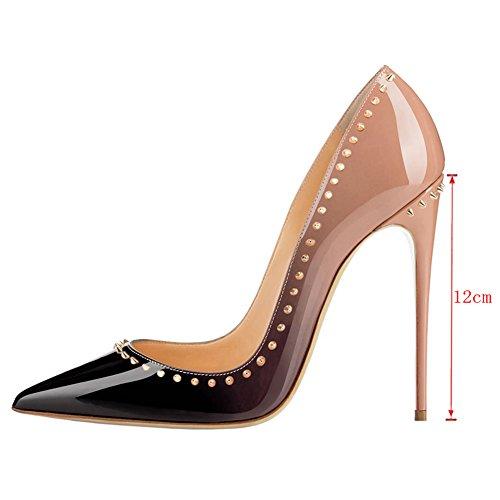 EKS - Zapatos de tacón alto con remaches Mujer Nackt-Schwarz-12cm