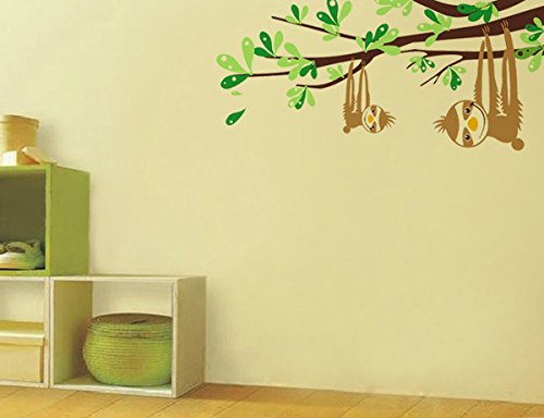 Pop Decors Pt-0124-Vb Beautiful Wall Decal, Sloths And Branches, 47&Quot; -