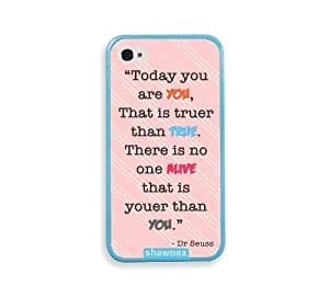 Shawnex Dr Seuss Quote Today You Are You Pink Stripes Aqua Silicon BumperFor Apple Iphone 5/5S Case Cover