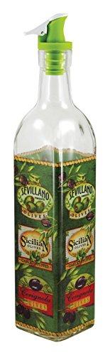 Grant Howard 50867 16 oz Sicilian Olives Oil and Vinegar Cruet, Clear