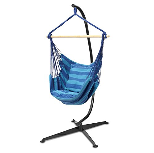 Cheap Flexzion Hanging Rope Chair (Blue) – Portable Canvas Striped Swing Hammock Sleeping Bed Porch Seat Weight Capacity 265 Lbs With Solid Steel C Stand for Oudoor and Indoor
