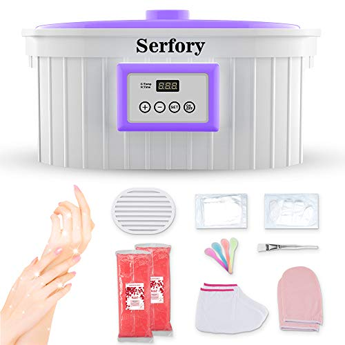 Paraffin Wax Machine for Hand and Feet, Serfory 5000ml Paraffin Wax Warmer Quick-Heating Paraffin Bath with Refill Thermal Mitts Gloves Silicone Brush for Smooth and Soft Skin(2019 Model)