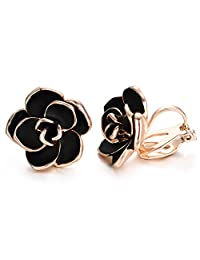 Yoursfs Flower Clip Earrings for Women Trendy Non PIerced Clip-on Earrings