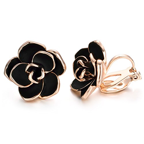 Enamel Pierced Earrings - Yoursfs Clip on Earrings For Women Black Enamel Rose Flower 18k Gold Plated Non Pierced Earrings
