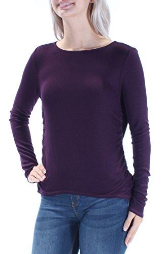 Chelsea Sky Womens Draped Open Back Knit Top Eggplant/Purple Small ()