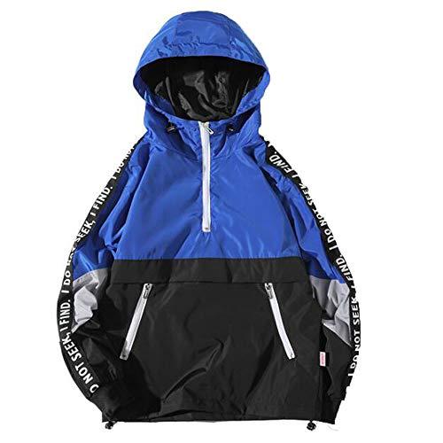 baskuwish Cotton Jacket Men Winter Warm Slim Fit Zipper Thick Bubble Coat Casual Parka Jacket Outerwear (L, Blue)