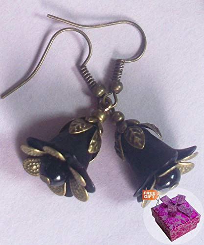 Black Trumpet Flower Acrylic & Glass Pearl Earring Bronze Handcrafted Rhinestone Earrings For Women Set + Gift Box For Free