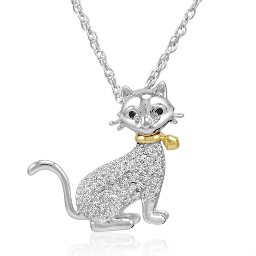 [Sterling Silver and 14K Gold Black and White Diamond Cat Pendant-Necklace ( 1/10ct tw)] (Gold Diamond Cat Pendant)