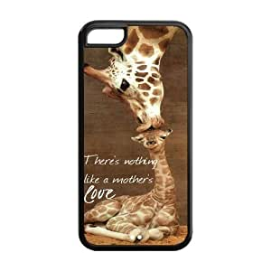 Giraffe Great Mother's Love Quote Hard Rubber Cell Cover Case for iPhone 5C,5C Phone Cases