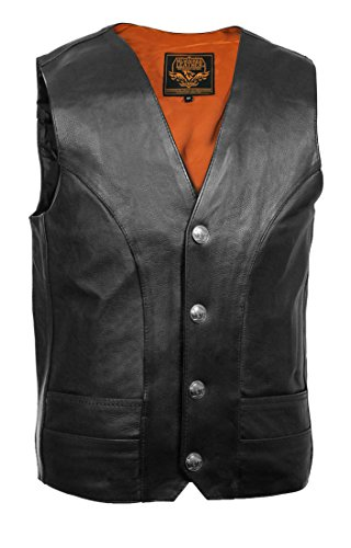 Mens Classic Leather Buffalo Nickel Snap Vest - Nickel Vest Buffalo