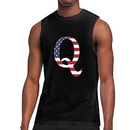 ZETANKK QAnon American Flag Men's Tank Tops Sleeveless T-Shirt Tee Slim Fit Tshirts Black