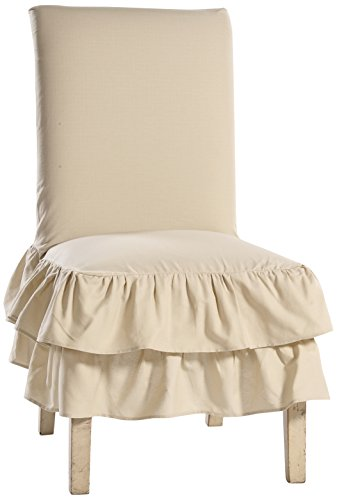 Classic Slipcovers CD2TRDINCHRSS Cotton Duck 2 Tier Dining Chair, Khaki Duck Short Dining Chair Slipcovers
