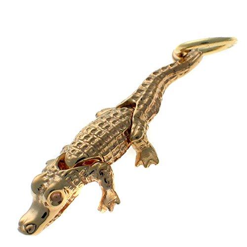 Or 9carats Crocodile, déménagement, articulations articulés, charme pendentif wbc1618