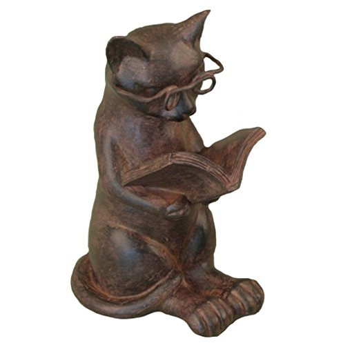 youngs Cat Reading Book Figure - Kitten Lovers Desk Accessory Purr-FECT Home ()
