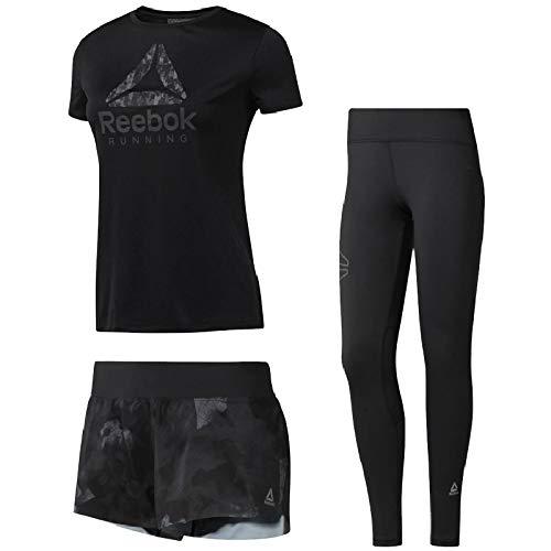 援助するクスクス分類ランニングウェア 3点セット レディース リーボック Reebok 半袖Tシャツ パンツ タイツ CY4697 CY4619 CY4675/女性用 マラソン ジョギング トレーニング ジム スポーツウェア/Reebok-Eset