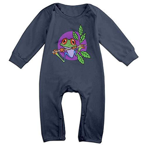 (TYLER DEAN Toddler Baby Boy Girl Jumpsuit Tree Frog On Branch Kid Pajamas Navy )