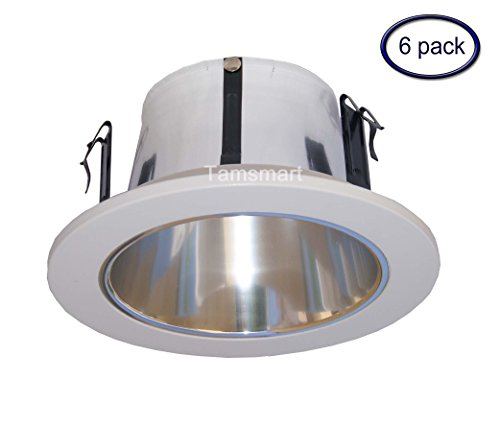 - 6 Pack- 4 Inches Open Reflector Trim/trims for Line Voltage Recessed Light/lighting-fit Halo/juno
