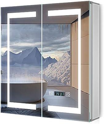 Quavikey Armario con Espejo LED Armario con Espejo para baño de Aluminio con luz de iluminación Armario con Espejo Reloj Digital Afeitadora Enchufe Interruptor táctil antiniebla 65x63cm: Amazon.es: Hogar