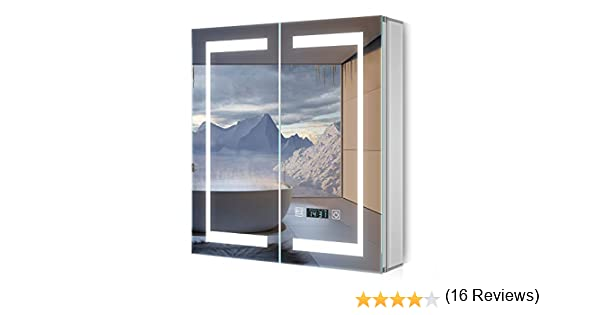 Quavikey Armario con Espejo LED Armario con Espejo para baño de ...