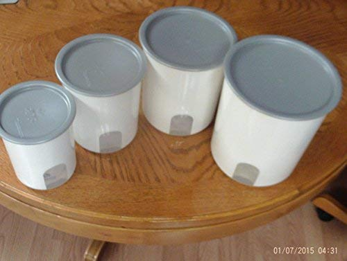 Tupperware One Touch Reminder Canister Set (4) White W/Silver Seals