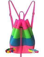 American Jewel Yummy Gummy Scented Bucket Backpack with Pom Pom and Charm Bracelets