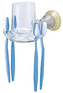 American Standard 8040.061.246 Prairie Field Clear Glass Tumbler/Toothbrush Holder, Satin with Polished Brass Accents