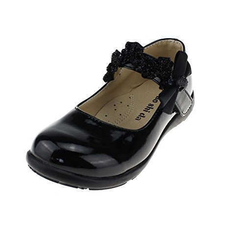 Maxu Bowtie Fashion Patent Leather Performance Shoes,Black Little Kid 12M US
