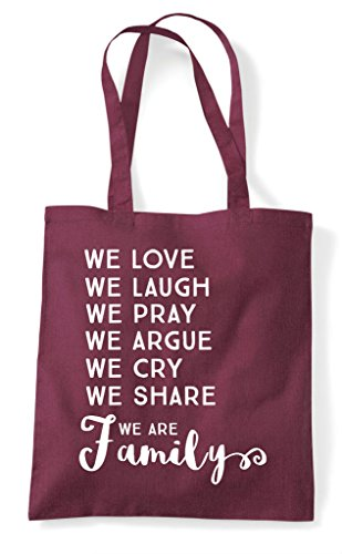 Burgundy Shopper We Statement Are Family List Tote Love Bag 0wqf8