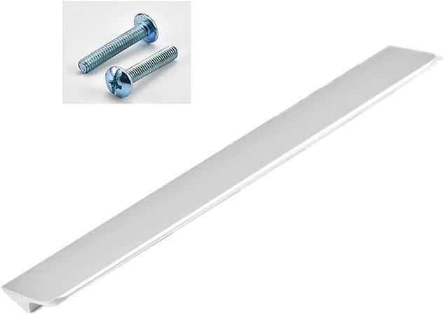 Tirador plateado para muebles de aleación de aluminio cepillado – Diseño biselado plano – Perfil tirador para cajones tiradores para armario cocina tirador de puerta 1 unidad: Amazon.es: Bricolaje y herramientas
