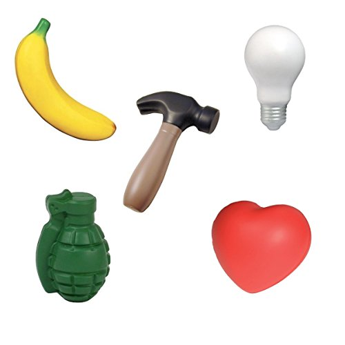 Stress Toys Variety Set of 5: Hammer, Banana, Heart, Light Bulb, Grenade ()
