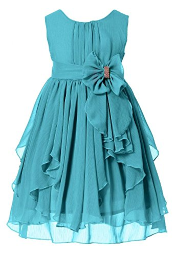 Bow Dream Flower Girl Dress Bridesmaid Ruffled Chiffon Peacock Blue 14 -