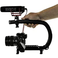 Cam Caddie Scorpion EX Professional Handheld Camera Stabilizer with Threaded Feet for DSLR, Video Cameras, Camcorders and Action Sports Cams up to 20 lbs - Includes: Smartphone / GoPro Adapters, Accessory Shoe and 1/4-20 Threaded Mounting Knob - Black