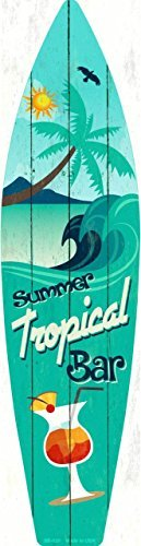 Smart Blonde Tropical Bar Metal Novelty Surf Board Sign SB-020
