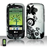 Silver Black Flower Vine Rubberized Snap on Hard Shell Cover Protector Faceplate Cell Phone Case for Verizon LG Cosmos Touch VN270, LG Attune MN270, LG Beacon + LCD Screen Guard Film + LCD Screen Guard Film (Free Wrist Band)