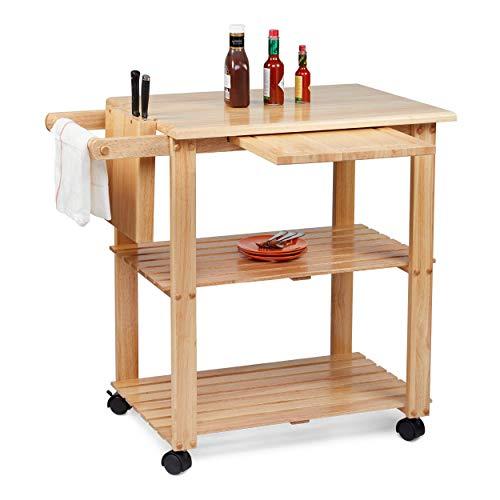 Civet Home TB07-0201-001-SG-A04 Kitchen Cart, Natural - Folding Kitchen Carts