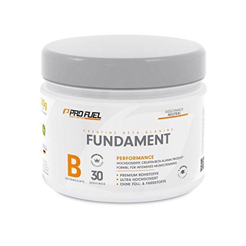 Hochwertiges Creatin Monohydrat Pulver für Muskelaufbau | Kreatin-Pulver mit Beta-Alanin für bessere Muskelregeneration | Vegan, Geschmacksneutral | PROFUEL® FUNDAMENT (Creapure) 300 g Pulver