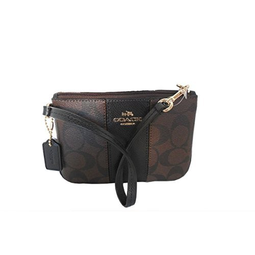Free Coach Signature C Brown Black PVC Leather Wristlet, 52860
